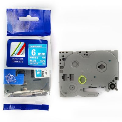 Compatible Label Tape TZ-515 TZ Tape TZ2-515 Used for Brother P-Touch Labeling Machines (6mm x 8m,White on Blue)