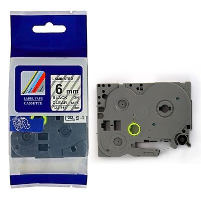 Compatible HG Label Tape HG5-111 Used for Brother P-Touch Labeling Machines (6mm x 8m,Black on Clear)