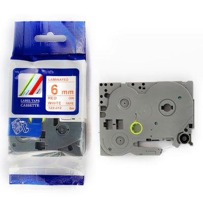 Compatible Label Tape TZ-212 TZ Tape TZ2-212 Used for Brother P-Touch Labeling Machines (6mm x 8m,Red on White)