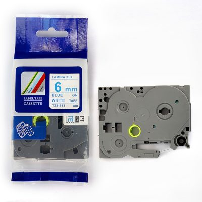 Compatible Label Tape TZ-213 TZ Tape TZ2-213 Used for Brother P-Touch Labeling Machines (6mm x 8m,Blue on White)