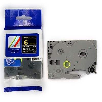 Compatible Label Tape TZ-314 TZ Tape TZ2-314 Used for Brother P-Touch Labeling Machines (6mm x 8m,Golden on Black)