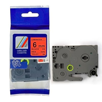 Compatible HG Label Tape HG5-411 Used for Brother P-Touch Labeling Machines (6mm x 8m,Black on Red)