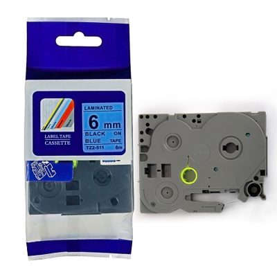 Compatible Label Tape TZ-511 TZ Tape TZ2-511 Used for Brother P-Touch Labeling Machines (6mm x 8m,Black on Blue)