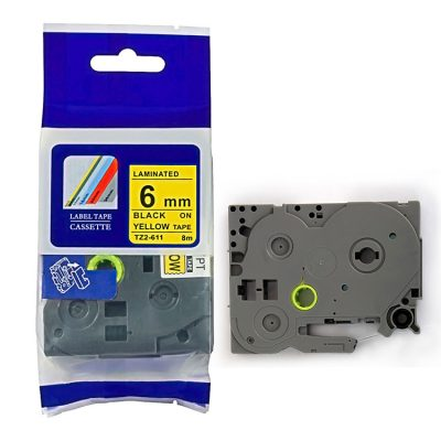 Compatible HG Label Tape HG5-611 Used for Brother P-Touch Labeling Machines (6mm x 8m,Black on Yellow)