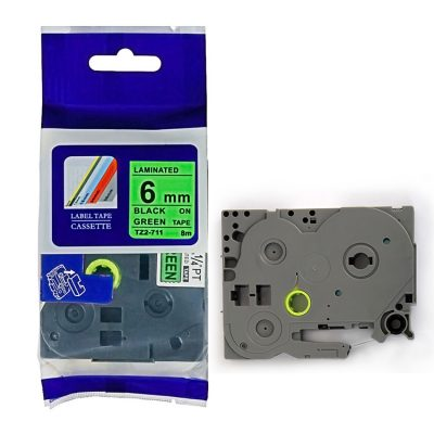Compatible HG Label Tape HG5-711 Used for Brother P-Touch Labeling Machines (6mm x 8m,Black on Green)