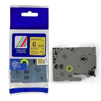 Compatible HG Label Tape HG5-811 Used for Brother P-Touch Labeling Machines (6mm x 8m,Black on Golden)