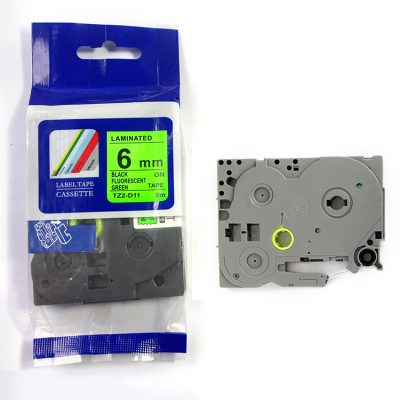 Compatible HG Label Tape HG5-D11 Used for Brother P-Touch Labeling Machines (6mm x 8m,Black on Fluorescent green)