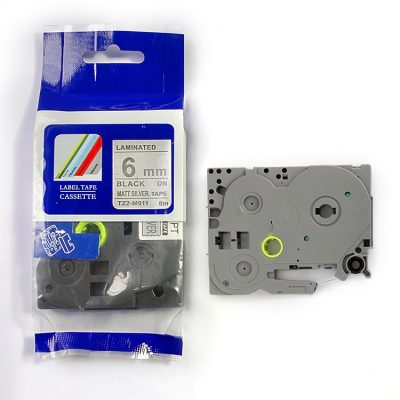 Compatible HG Label Tape HG5-M911 Used for Brother P-Touch Labeling Machines (6mm x 8m,Black on Matt silvery)