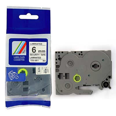 Compatible Label Tape TZ-SE1 Label Cassette TZE-SE1 TZ Tape TZ2-SE1 Used for Brother P-Touch Labeling Machines (6mm x 8m,Black on Security White)