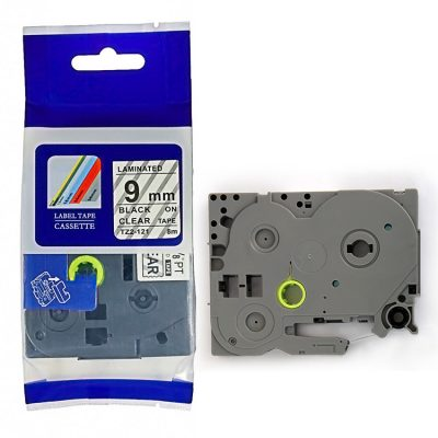 Compatible TZ Label Tape Cartridge TZ-121 Label Tape Cassette TZE-121 TZ Thermal Transfer Ribbon TZ22-121 Used for Brother P-Touch Labeling Machines (9mm x 8m,Black on Clear)
