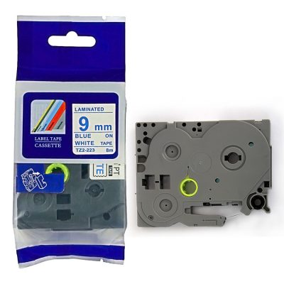 Compatible TZ Label Tape Cartridge TZ-223 Label Tape Cassette TZE-223 TZ Thermal Transfer Ribbon TZ2-223 Used for Brother P-Touch Labeling Machines (9mm x 8m,Blue on White)