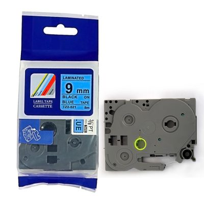 Compatible TZ Label Tape Cartridge TZ-521 Label Tape Cassette TZE-521 TZ Thermal Transfer Ribbon TZ2-521 Used for Brother P-Touch Labeling Machines (9mm x 8m,Black on Blue)