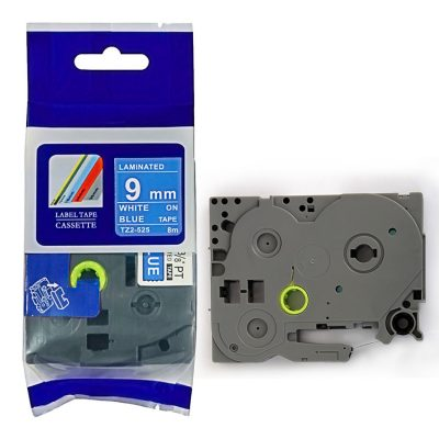 Compatible TZ Label Tape Cartridge TZ-525 Label Tape Cassette TZE-525 TZ Thermal Transfer Ribbon TZ2-525 Used for Brother P-Touch Labeling Machines (9mm x 8m,White on Blue)