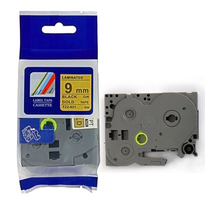 Compatible TZ Label Tape Cartridge TZ-821 Label Tape Cassette TZE-821 TZ Thermal Transfer Ribbon TZ2-821 Used for Brother P-Touch Labeling Machines (9mm x 8m,Black on Golden)