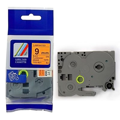 Compatible TZ Label Tape Cartridge TZ-B21 Label Tape Cassette TZE-B21 TZ Thermal Transfer Ribbon TZ2-B21 Used for Brother P-Touch Labeling Machines (9mm x 8m,Black on Fluorescent orange)