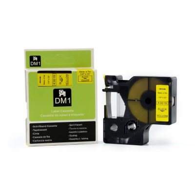 Compatible For DYMO 43618 Used for Labeling Machines (6mm*7m,Black on Yellow )
