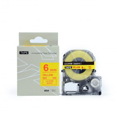 Compatible for KingJim Labeling Tape SC6YR 6mm*8m Yellow on Red Labeling Tape