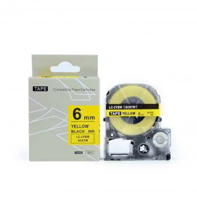 Compatible for KingJim SC6YW 6mm*8m Yellow on Black Labeling Tape