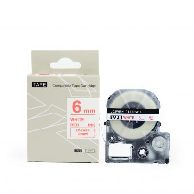 Compatible for Labeling Tape SS6RW 6mm*8m White on Red Labeling Tape